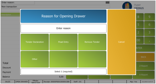 How to: Require Reason Code for Opening Drawer